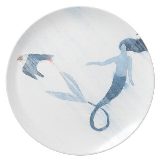 Mermaid and Puffin Dinner Plate