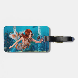 Mermaid and Sea Lily Luggage Tag