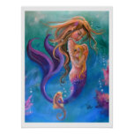 Mermaid and Seahorses, Colourful Poster