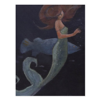 Mermaid and the Blue Fish Postcard