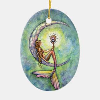 Mermaid and the Moon Fantasy Art Ceramic Ornament