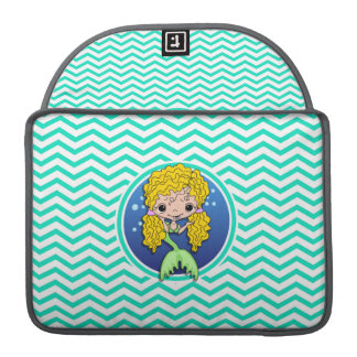 Mermaid; Aqua Green Chevron Sleeves For MacBooks