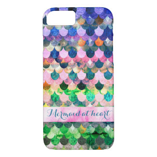 Mermaid at heart-Colorful Mermaidscales Pattern iPhone 8/7 Case