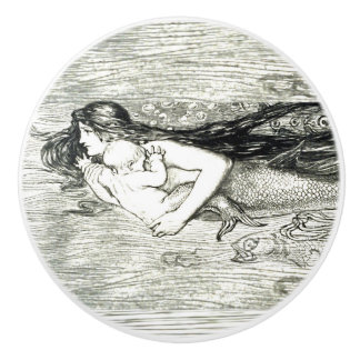 Mermaid & baby art by Amelia Bauerle Bowerley Ceramic Knob
