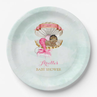 Mermaid Baby Clam Shell Tiara African American Paper Plate