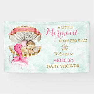 Mermaid Baby Clam Shell Tiara Pearls Gold Pink Banner