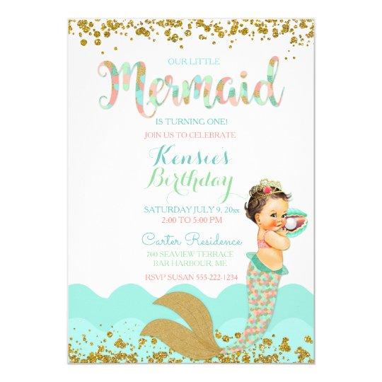 Mermaid Baby Girl Peach Coral Mint Gold Card