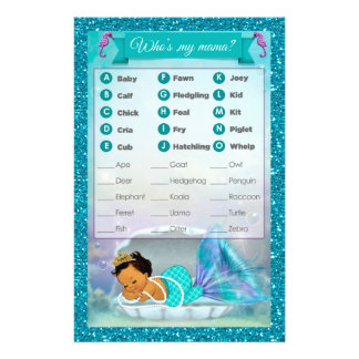 Mermaid Baby Shower Animal Match Game #136 Medium Flyer