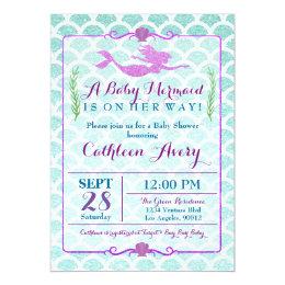 Mermaid Baby Shower Invitations Announcements Zazzle Ca