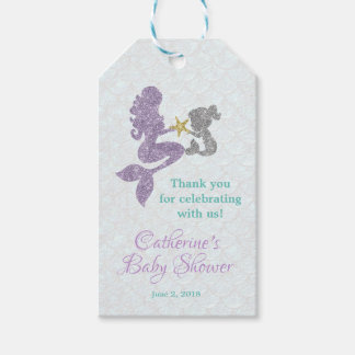 Mermaid baby shower thank you tags favor tags