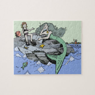 Mermaid Beach Cartoon Drawing Jigsaw Puzzle