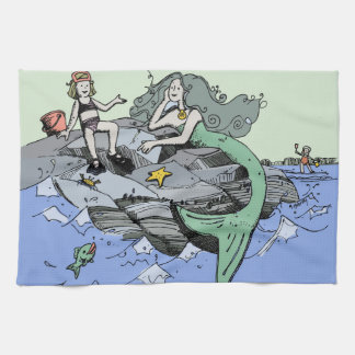 Mermaid Beach Cartoon Drawing Kitchen Towel
