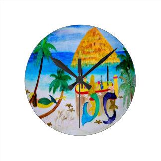 Mermaid Beach Tiki Bar Art Round Clock
