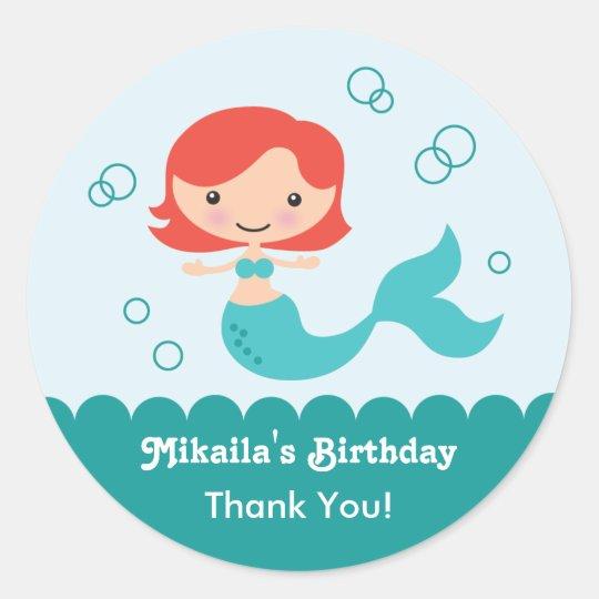 Mermaid Birthday Favour Sticker