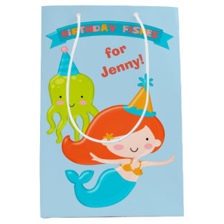 Mermaid Birthday Fishes Personalized Medium Gift Bag