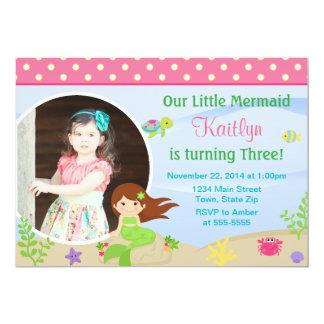 Mermaid Birthday Invitation Brunette 5x7 Photo