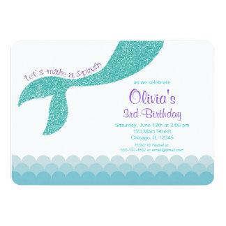 Mermaid birthday invitation, teal aqua purple card