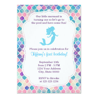 Mermaid Birthday Invitation with back