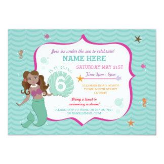 Mermaid Birthday Party Mint Sea Brown Hair Invite