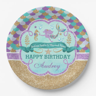 Mermaid Birthday Party Personalized Paper Plate