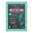 Mermaid Birthday Party Teal Pin Glitter Sea Invite