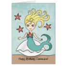Mermaid birthday personalized card