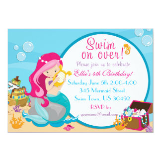 Mermaid Birthday Pool Party Invitation 5 X 7
