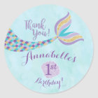 Mermaid Birthday Round Stickers | Party Favour