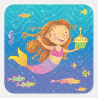 Mermaid Birthday Square Stickers