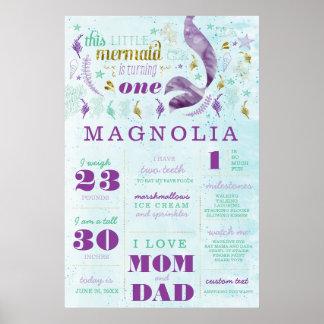 Mermaid Birthday Stats Milestone Poster