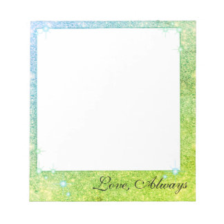 Mermaid Blue Green Glitter Sparkle Faux Sea Notepad
