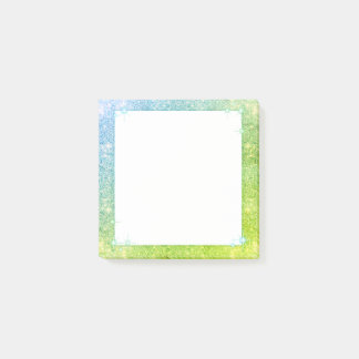 Mermaid Blue Green Glitter Sparkle Faux Sea Post-it Notes