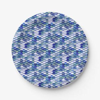 Mermaid Blue Skin Pattern 7 Inch Paper Plate