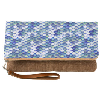Mermaid Blue Skin Pattern Clutch
