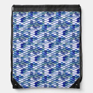 Mermaid Blue Skin Pattern Drawstring Bag