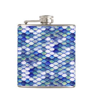 Mermaid Blue Skin Pattern Flask