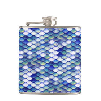 Mermaid Blue Skin Pattern Hip Flask