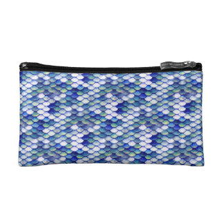 Mermaid Blue Skin Pattern Makeup Bag