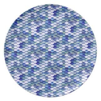 Mermaid Blue Skin Pattern Party Plate