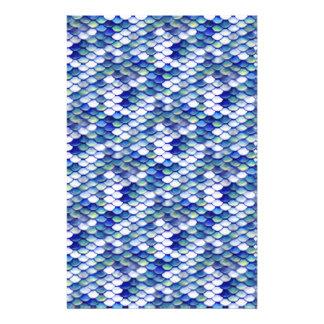 Mermaid Blue Skin Pattern Stationery