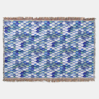 Mermaid Blue Skin Pattern Throw Blanket
