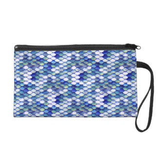 Mermaid Blue Skin Pattern Wristlet
