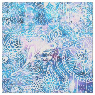 Mermaid blue turquoise watercolor boho dreamcatche fabric