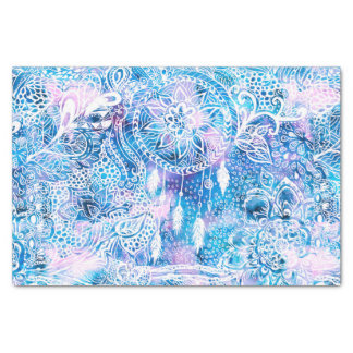 Mermaid blue turquoise watercolor boho dreamcatche tissue paper
