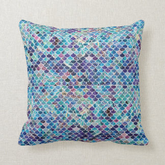 Mermaid Blues Throw Pillow