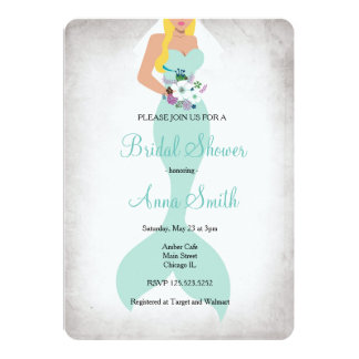 Mermaid bridal shower invitation floral mint green