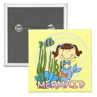 Mermaid - Brunette Tshirts and Gifts Buttons