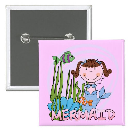Mermaid - Brunette Tshirts and Gifts Pins