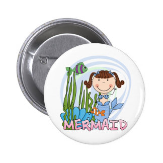 Mermaid - Brunette Tshirts and Gifts Pinback Buttons