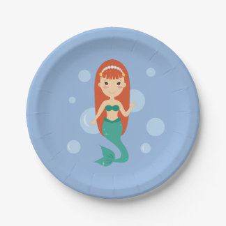 Mermaid bubbles in the sea summer party paper plate